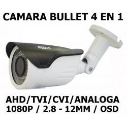 CAMARA BULLET MERIVA AHD/TVI/CVI/960H BULLET MERIVA MSC-2200S 1080P. VARIFOCAL 2.8-12MM OSD